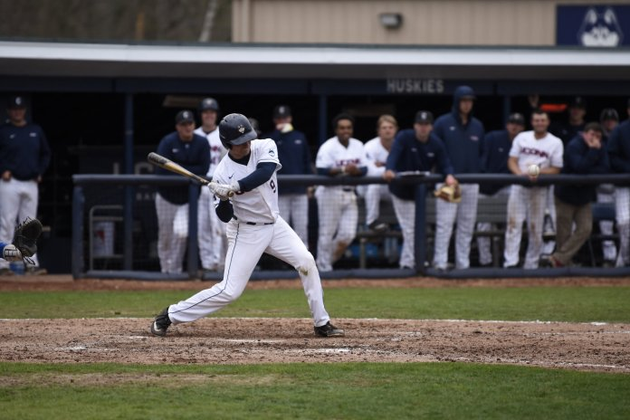 UConn Baseball takes home a 9-1 win against Central Connecticut State University last April. UConn beat Hartford 5-2 today in Hartford. Paul Gozzo hit a 3-run home run to give them the win.  Photo by Brandon Barzola/The Daily Campus