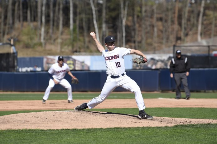The UConn Baseball team secures a 2-1 win against the University of Rhode Island. This leaves them at 25-16 in the season.  Photo by Brandon Barzola/The Daily Campus