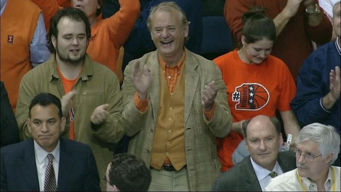 Bill Murray and his son Homer cheering for the Illinois Fighting Illini men's basketball team at the 2005 Men's NCAA Final Four in St. Louis.  Photo in the    public domain.