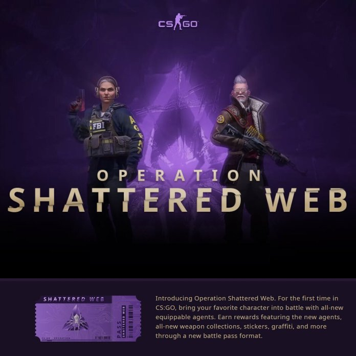 A photo of the new operation released in Counter Strike: Global Offensive. Counter Strike is one of the most popular games offered on the Steam platform.  @csgo_dev
