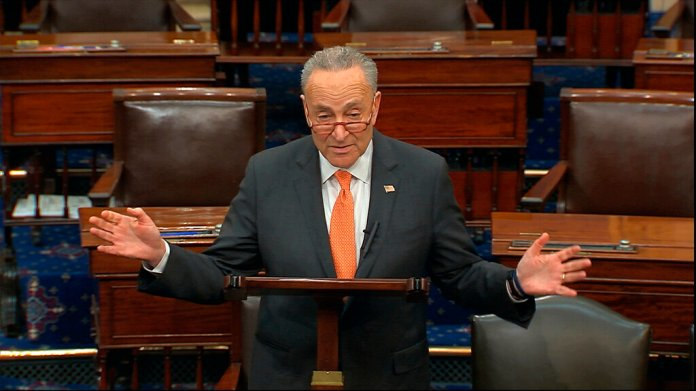 Senate Minority Leader Chuck Schumer, D-N.Y., speaks on the Senate floor at the U.S. Capitol in Washington, Saturday.  Photo courtesy of Senate Television via AP