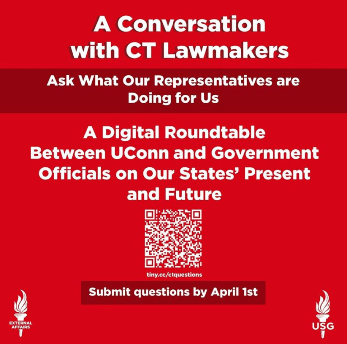 Students will have the opportunity to send their questions to Connecticut lawmakers via a Google Form. The event was designed by Zoe Jensen and Michael Cerulli of USG.  Photo via Instagram @usguconn.