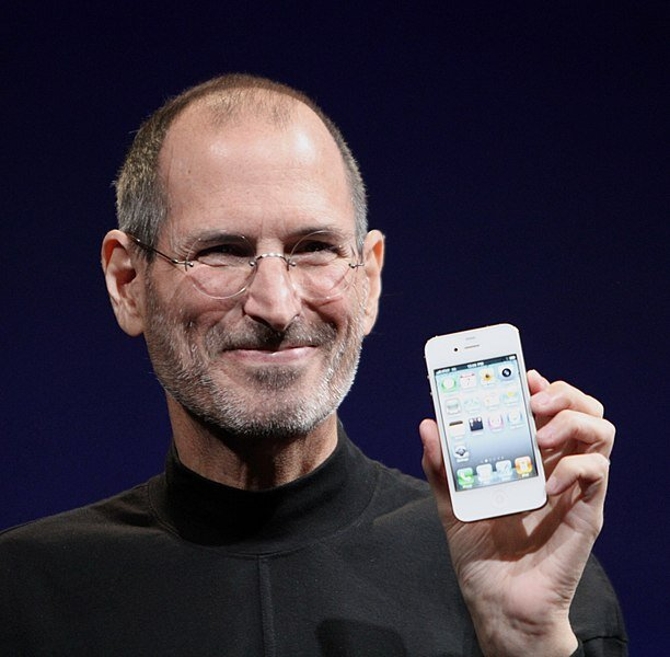 Steve Jobs shows off the iPhone 4 at the 2010 Worldwide Developers Conference.  Photo in the    public domain
