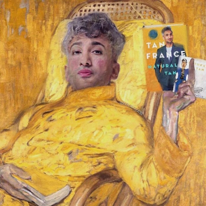 """A rendering of Tan France holding his book """"Naturally Tan.""""  Photo courtesy of    @tanfrance"""