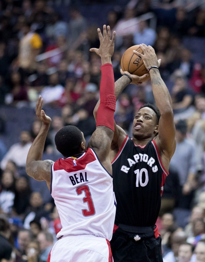 DeMar DeRozan has been a premier isolation player since entering the league with solid athleticism and a great mid-range game. His one fault is his lack of a 3-point shot in a range-dominated league.  Photo via uk.wikipedia.org