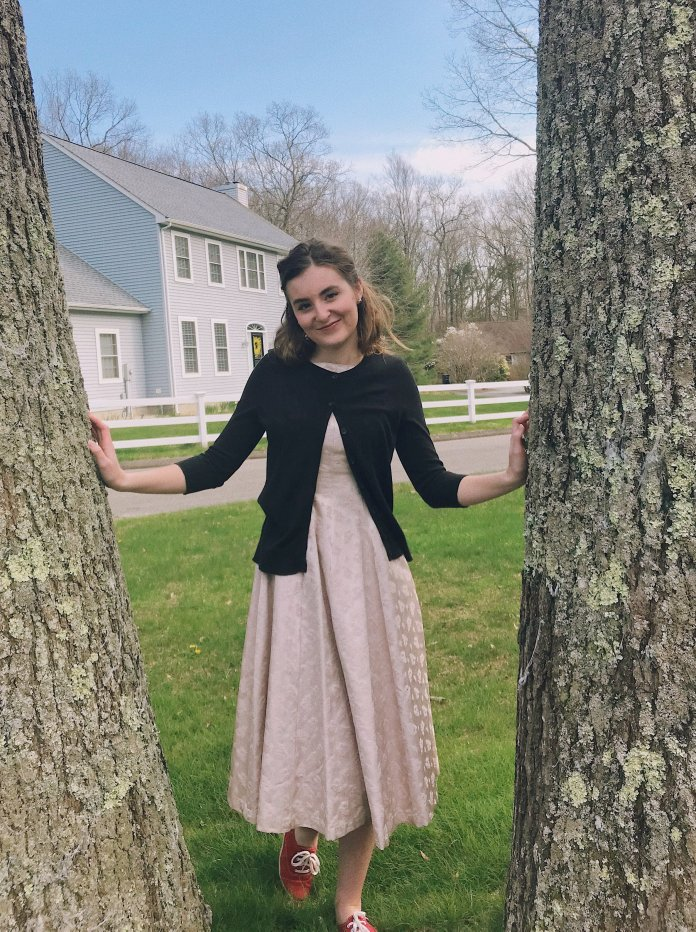 This dress may have been worn to a formal but more laid back outing, such as a dinner party or a get-together with friends.  Photo by the author