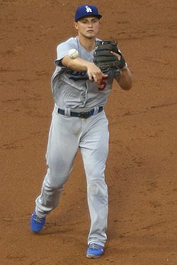 Corey Seager between innings.  Photo in the    public domain
