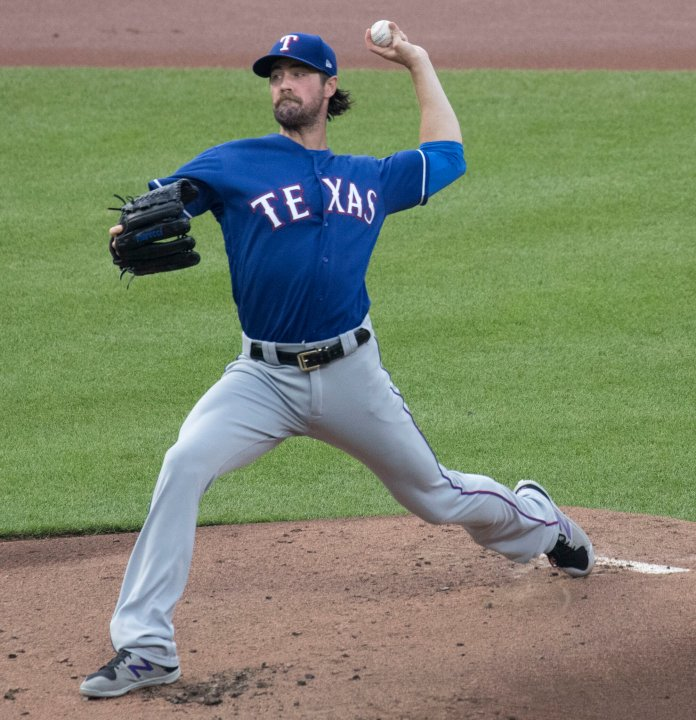 Cole Hamels was pitching for the Texans in this. He held the Blue Jays to just one run through five innings, but began to falter a bit in the sixth and seventh before being replaced by Samuel Dyson.  Photo via commons.wikimedia.org