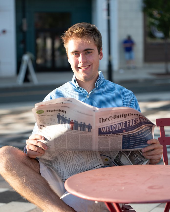 Andrew Morrison is the outgoing Sports Editor of The Daily Campus.  Photo by Charlotte Lao/The Daily Campus.