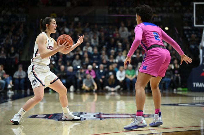 The UConn women's basketball team beat Memphis 94-55 in Gampel Pavilion in early February. They finished the year 16-0 in the conference, cementing their undefeated career in the American conference.  Photo by Kevin Lindstrom/The Daily Campus