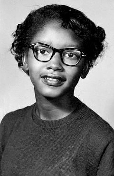 Claudette Colvin, aged 13, in 1953. On March 2, 1955, she was the first person arrested for resisting bus racial segregation in Montgomery, Alabama.  Photo in the    public domain