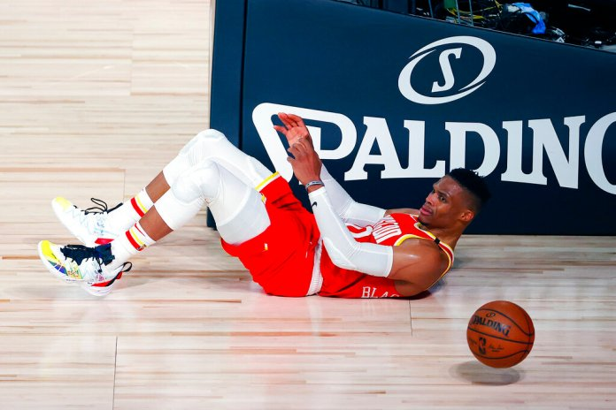 Houston Rockets' Russell Westbrook reacts after being fouled during the second half of an NBA basketball game against the Portland Trail Blazers Tuesday, Aug. 4, 2020, in Lake Buena Vista, Fla. Russell Westbrook is currently injured.  Photo by Kevin C. Cox/AP