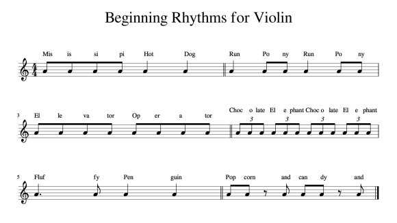 Beginning Rhythms for the Violin (With Sheet Music) — Meadowlark ...
