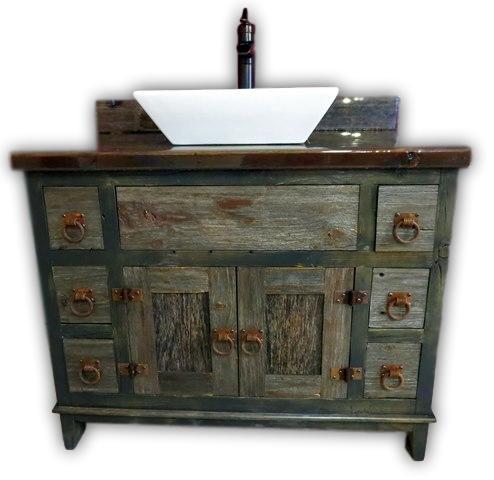 antique gray barnwood bathroom vessel vanity without sink