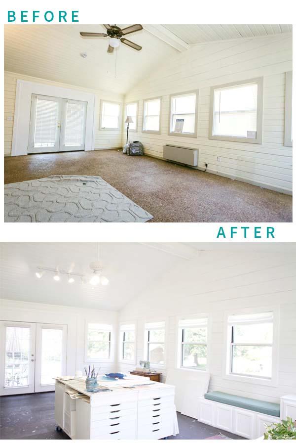 dreamy art studio whites lights