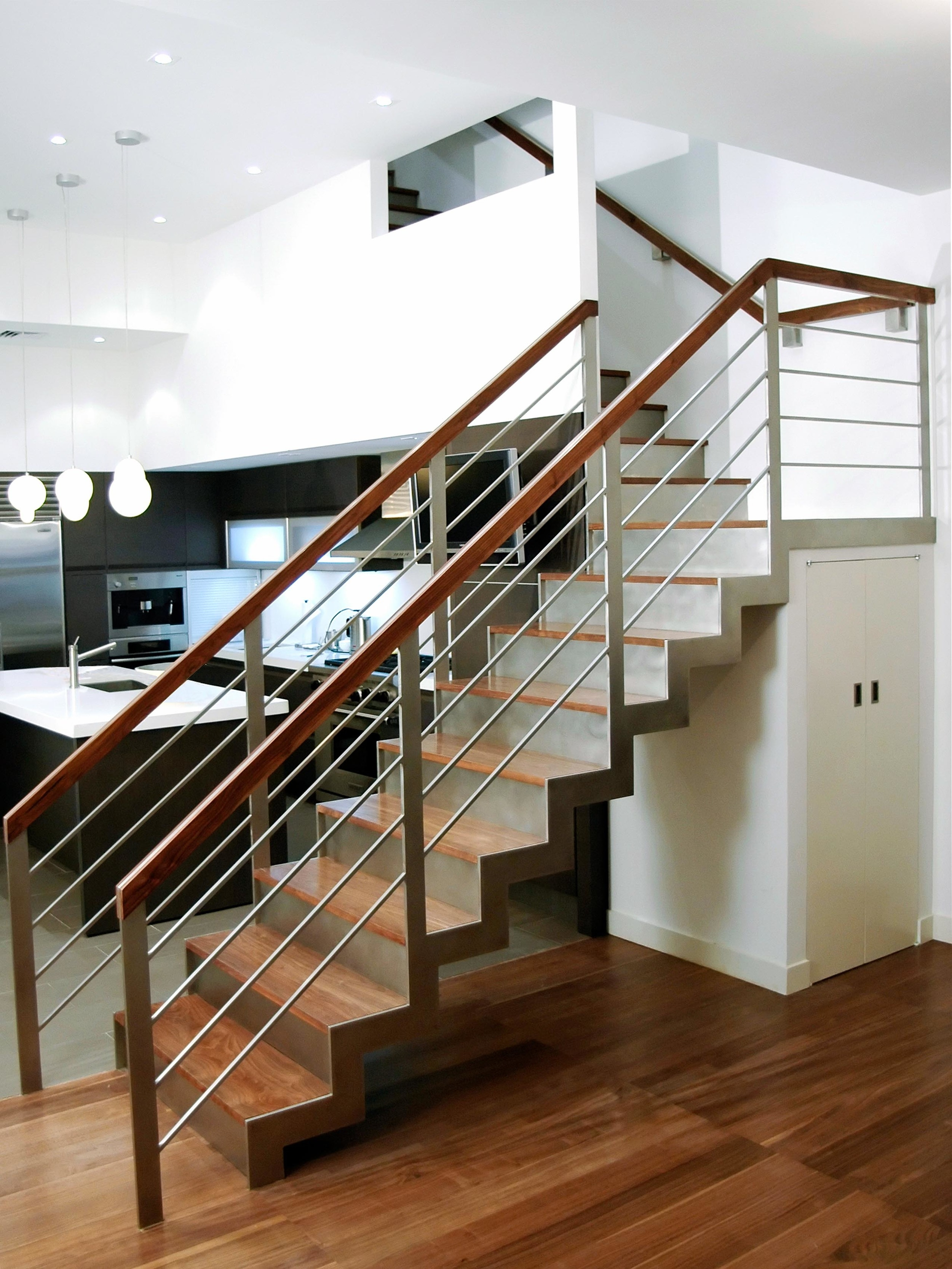 Walnut And Stainless Steel Staircase — Custom Metal Fabrication In | Metal Staircases For Homes | Beam | Stainless Steel | Support | Statement | Metallic