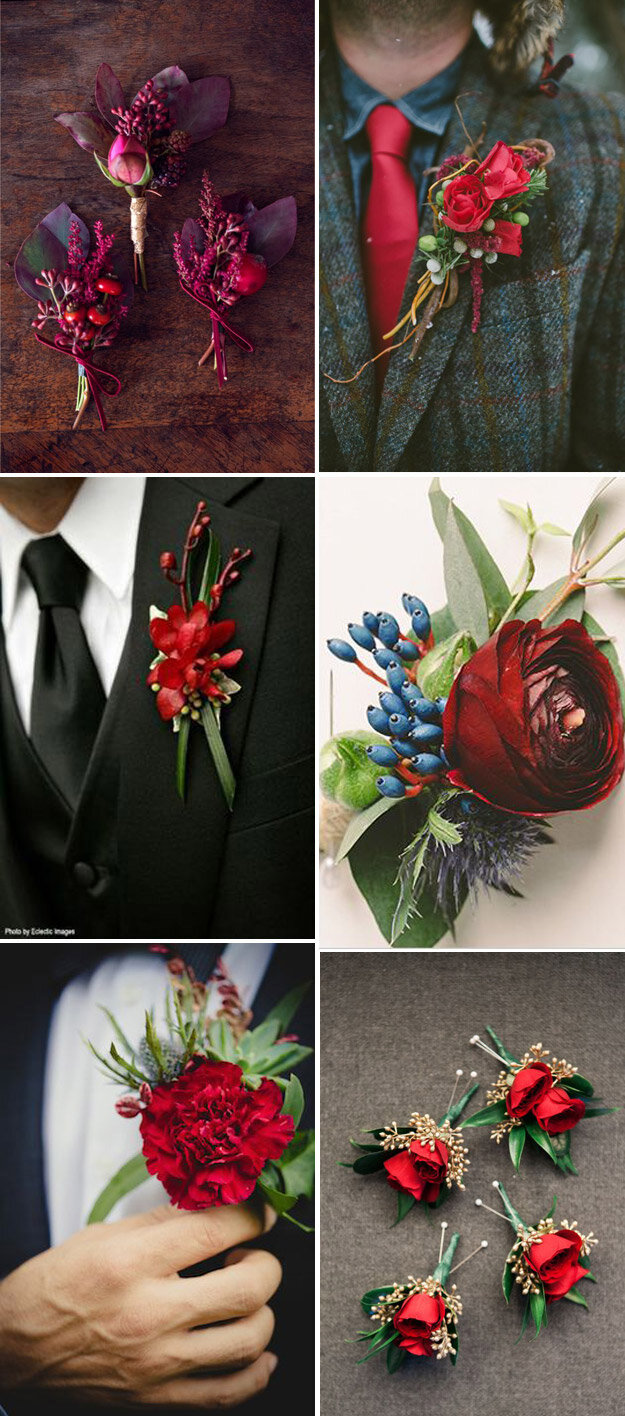 Ravishing Red Boutonnières For The Groom