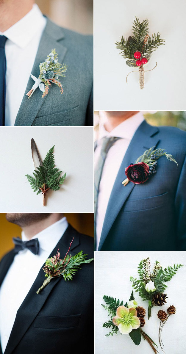 Boutonnières That Are Perfect For a Winter Wedding