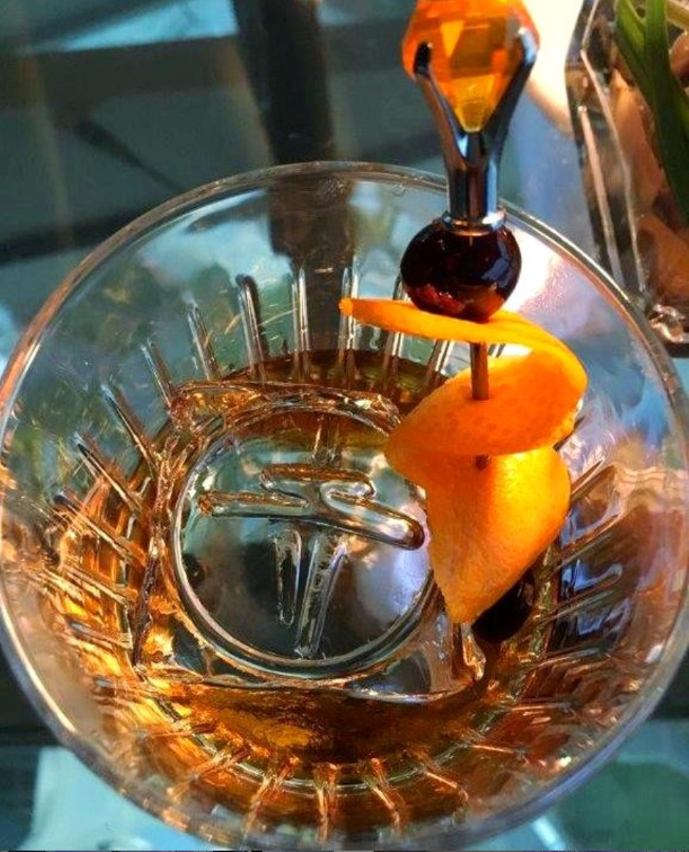 Brandy Old Fashioned - Despite its name, there is nothing old about this cocktail with the modern update of trading out the classic spirit of whiskey for brandy.image & custom ice cube featuring the Seattle Space Needle from Creative Ice