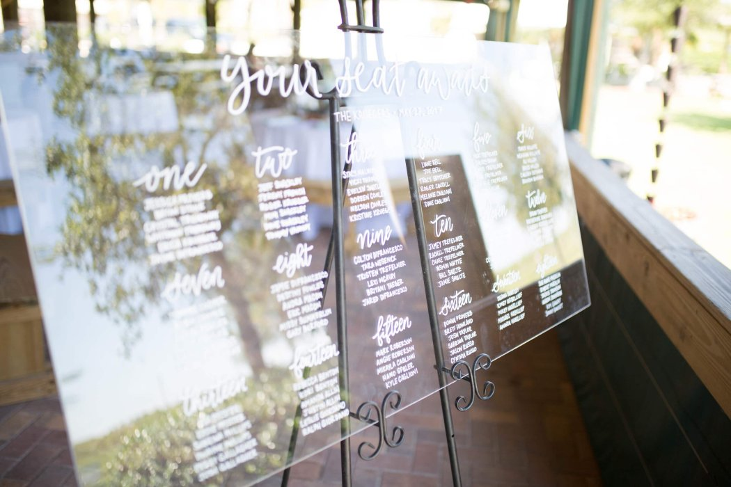 Your Seat Awaits! We love the uncomplicated impact this acrylic seating chart from Sablewood Paper Company makes for when your guests arrive at the wedding reception.