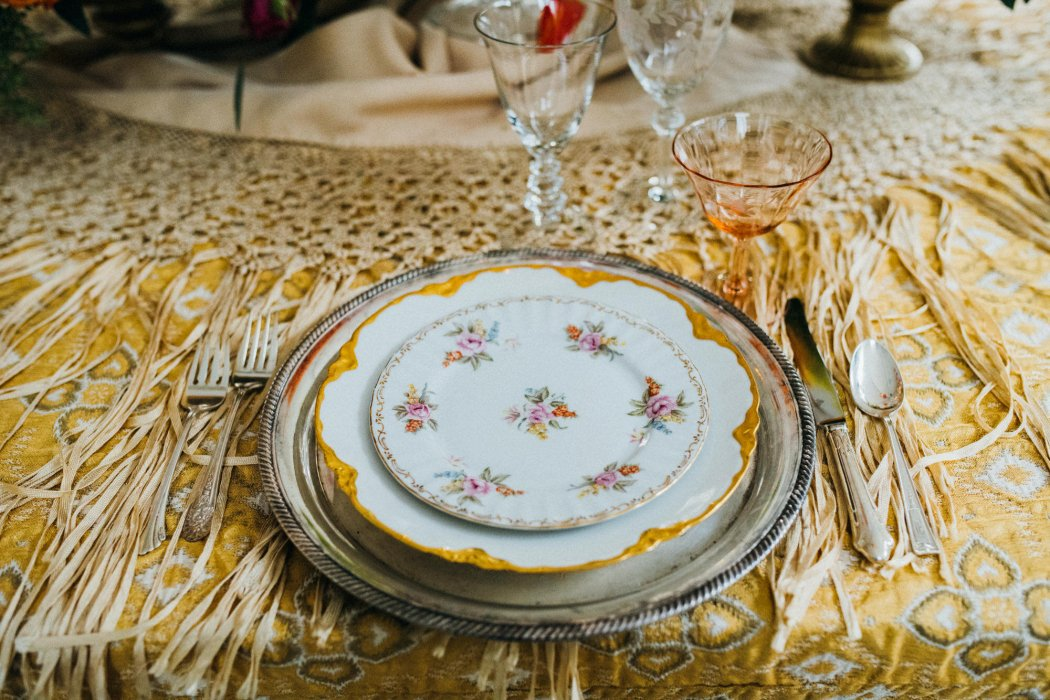 Vintage Yellow and Floral Place-setting from Vintage Ambiance , image by Jenn Tai Photo Artistry