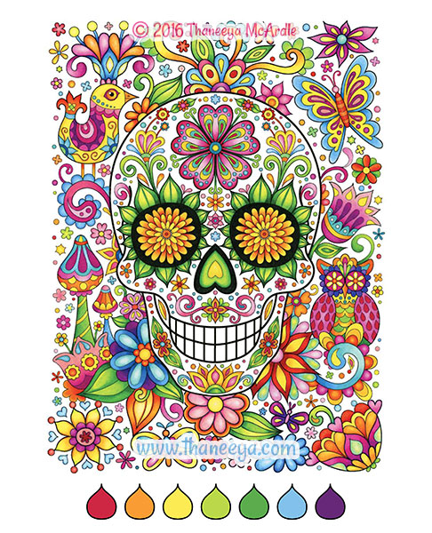 Sugar Skulls Coloring Book By Thaneeya Mcardle Thaneeya Com