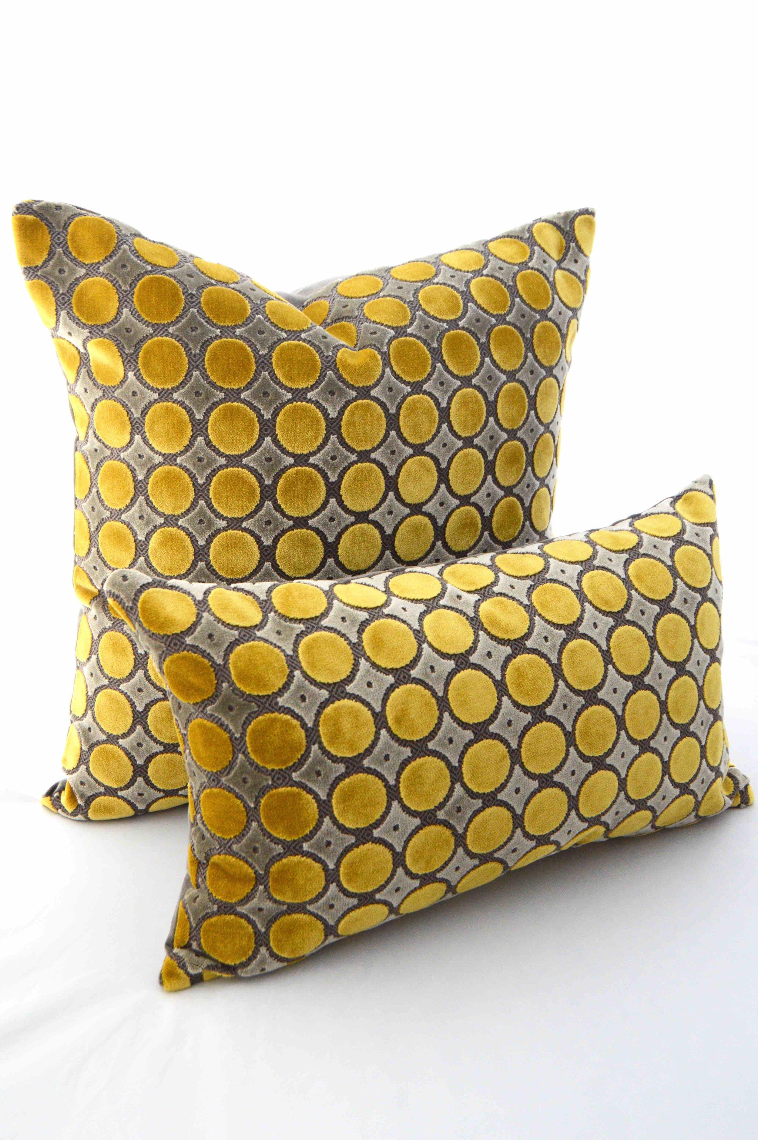 yellow and gray luxurious polka dot velvet pillow firmamenta