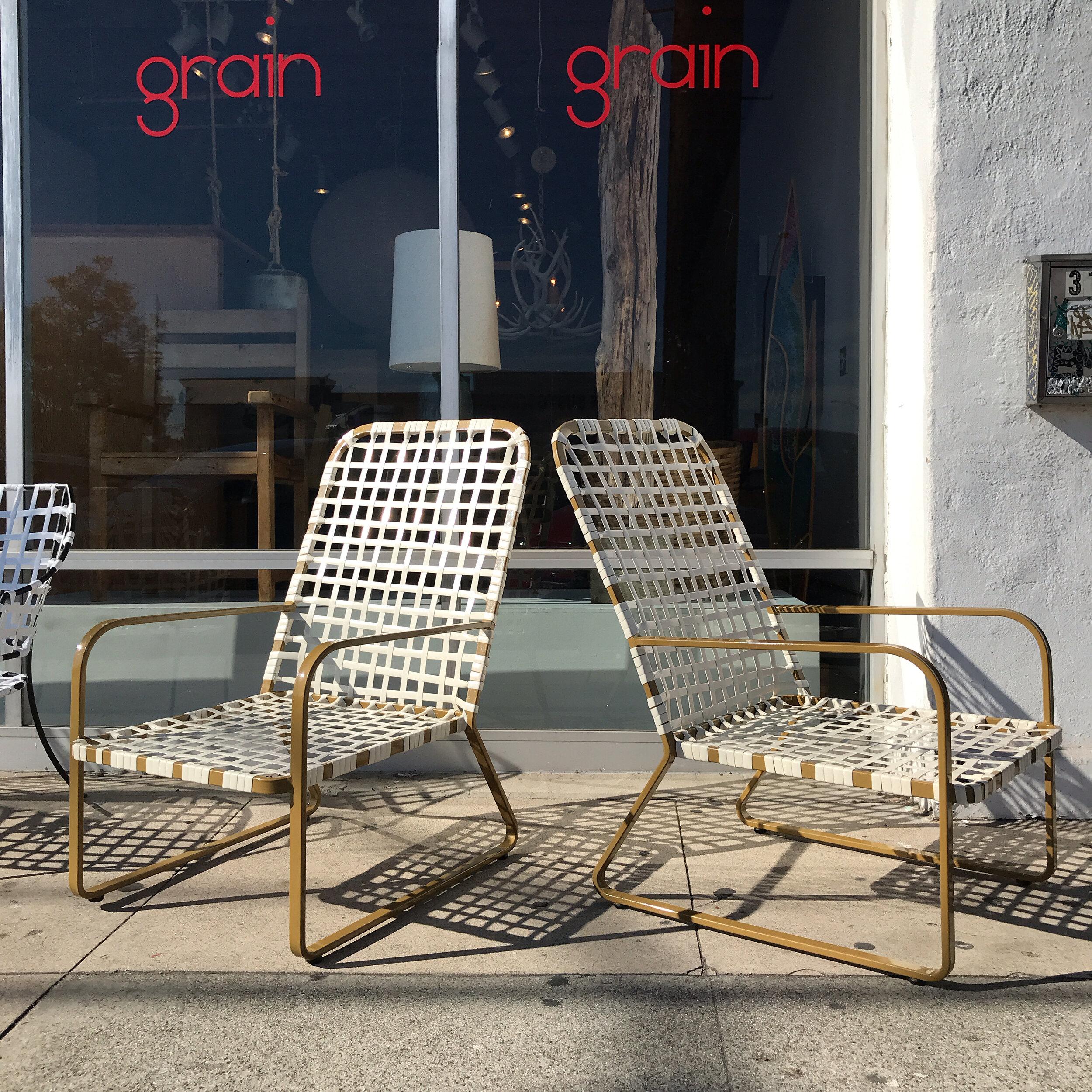 pair early vintage brown jordan patio