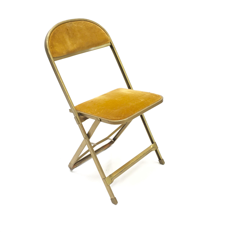 Vintage Mustard Yellow Velvet And Golden Folding Chair Hook Props