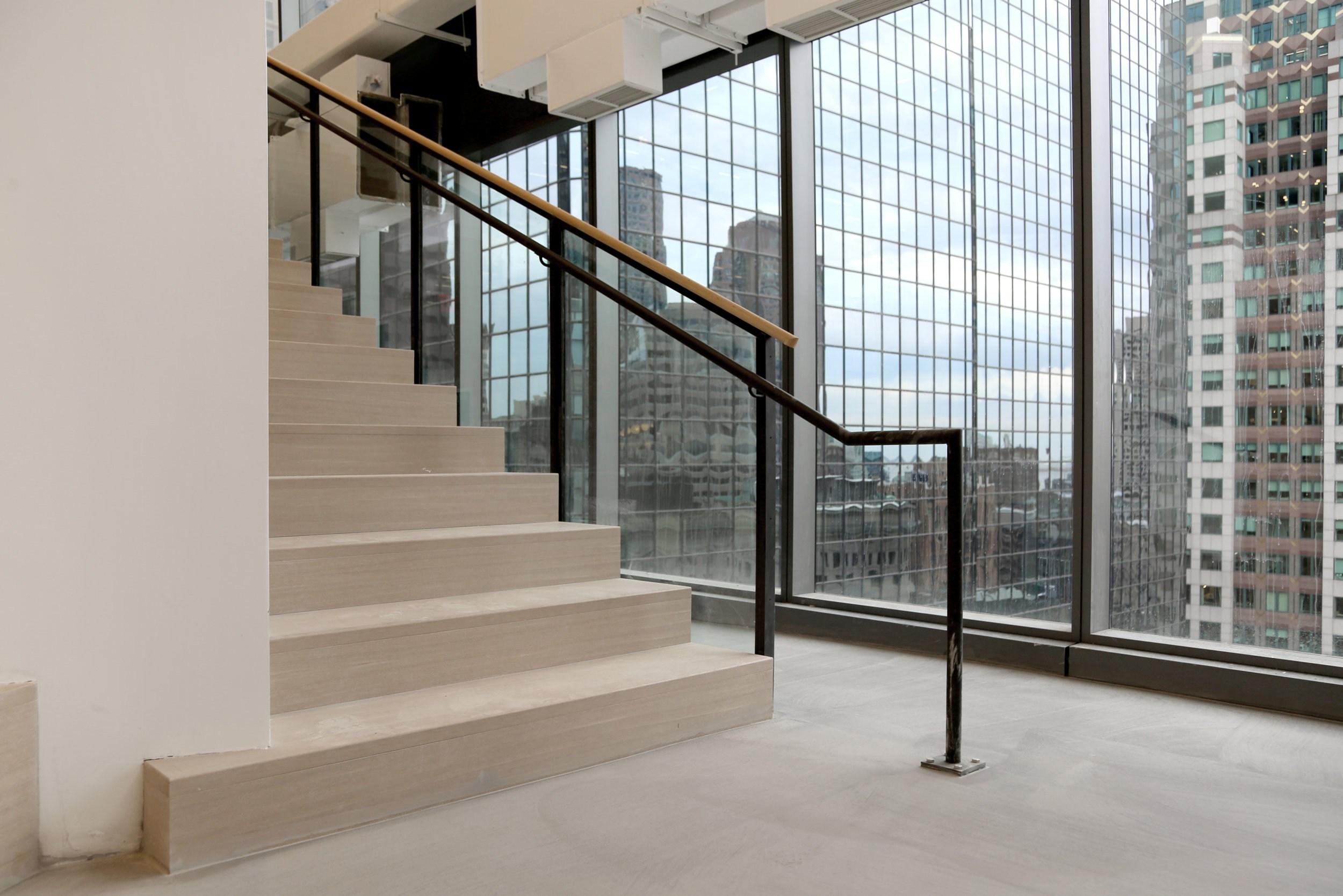 Digitas Staircase — Spaceworks Ai   Black Iron Stair Railing   Industrial   Iron Baluster   Rectangular Iron   Horizontal   Contemporary