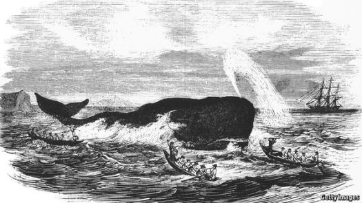 Artist depiction of an early 19th century whaling expedition.