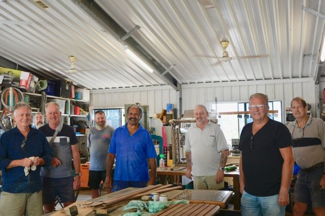 our men's shed participants enjoying being back in their shed!