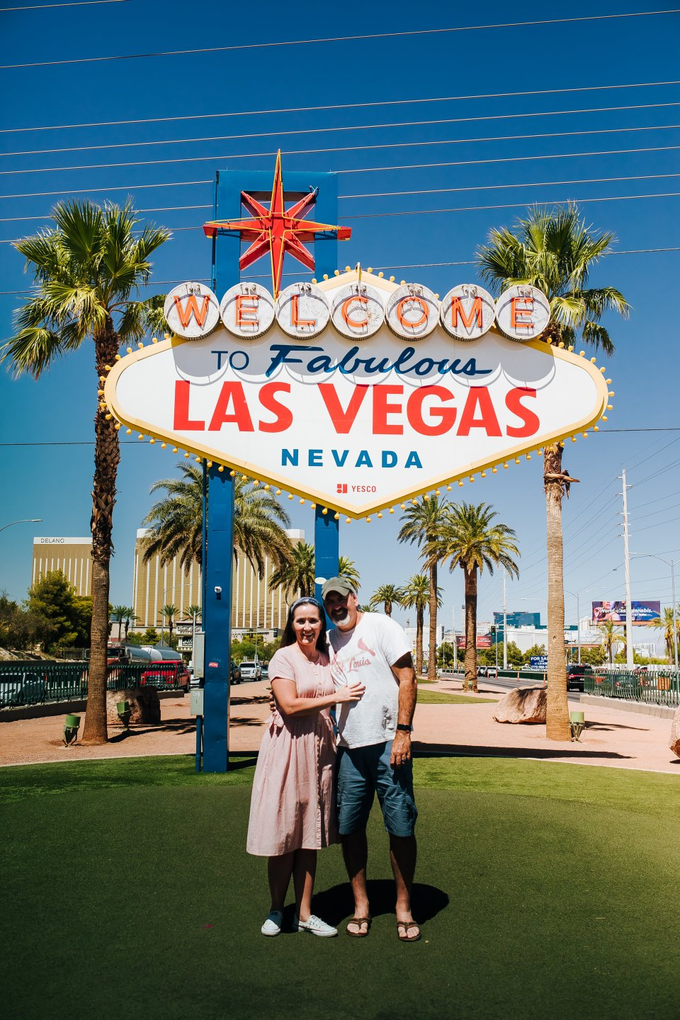 My husband and I in front of the Las Vegas sign | OUR 4 DAY LAS VEGAS TRIP | J.B. TOLS