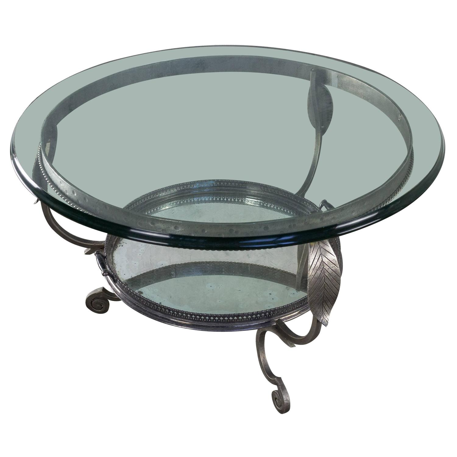 vintage glass coffee table with serving tray 145 antiques