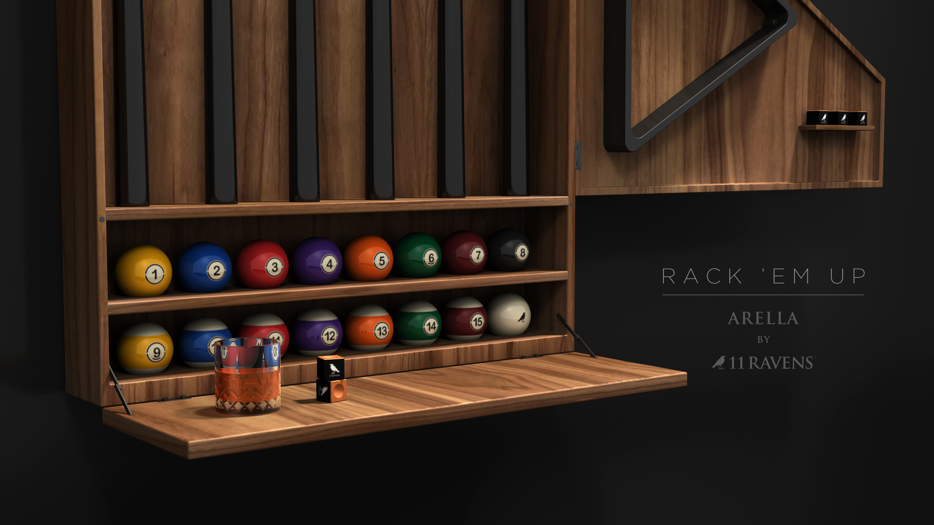 arella cue rack custom furniture