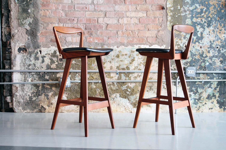 Pair Of Danish Teak Bar Stools By Rosengren Hansen Circa Modern