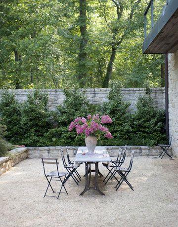 white pea gravel patio create