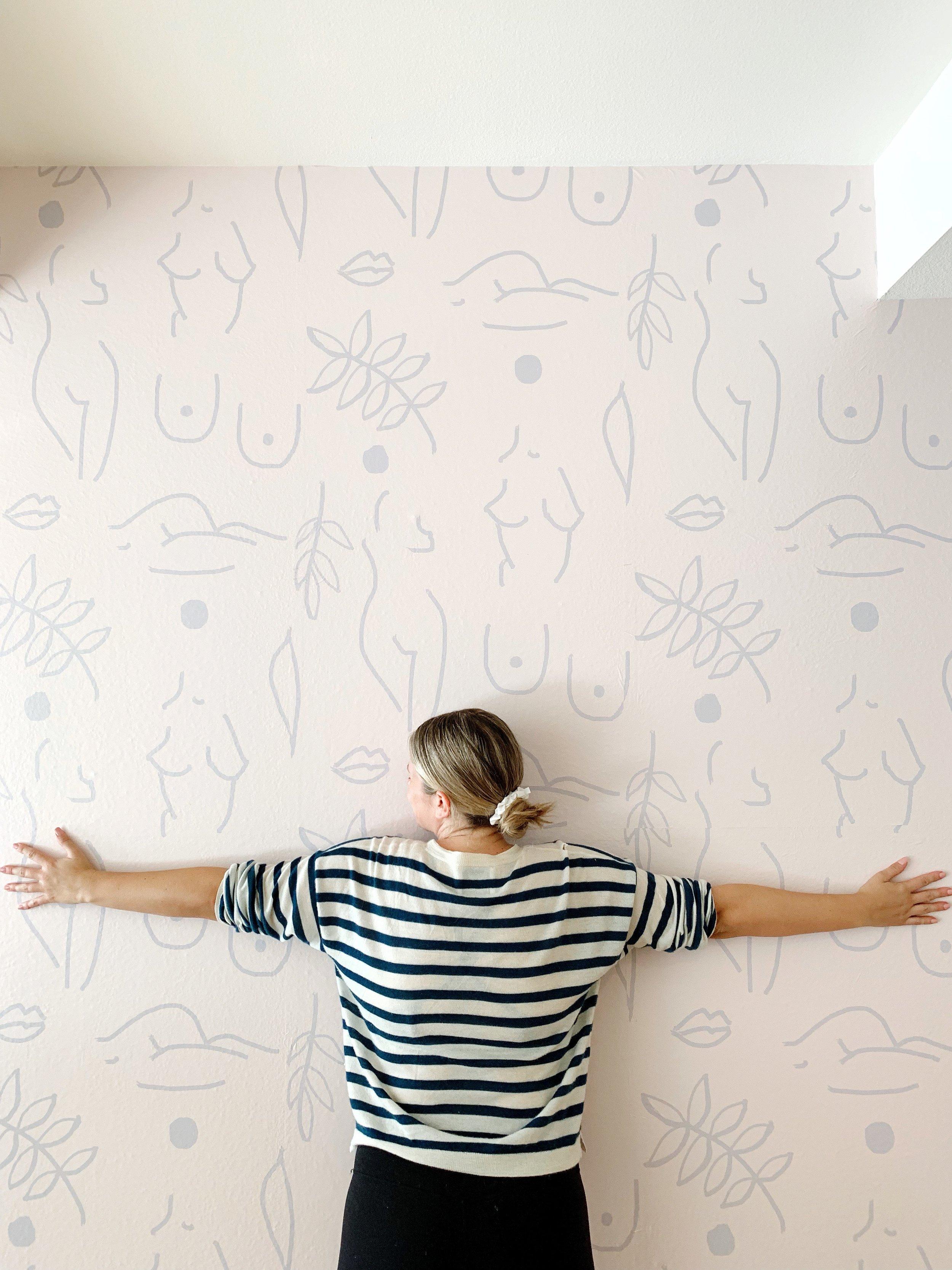 Neutral Nudes Removable Wallpaper Peel Stick Fabric Wallcovering Samantha Santana