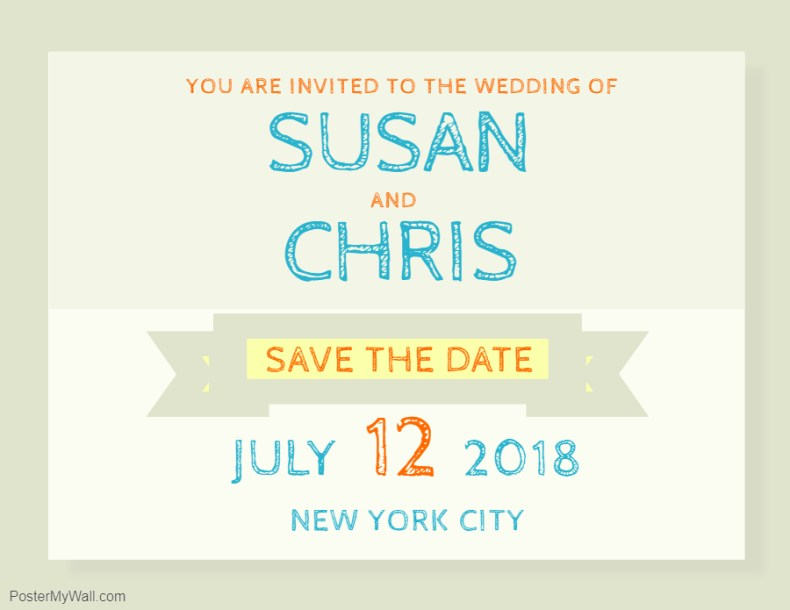Save the date informal invitation