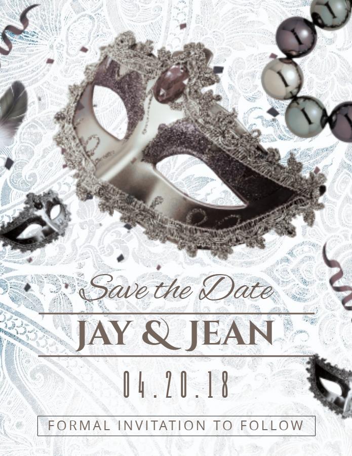 Save the date masquerade invitation