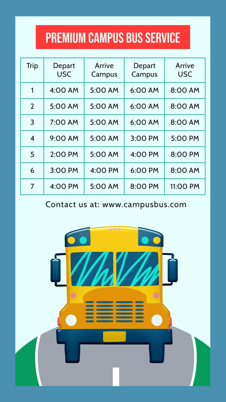 Bus schedule table