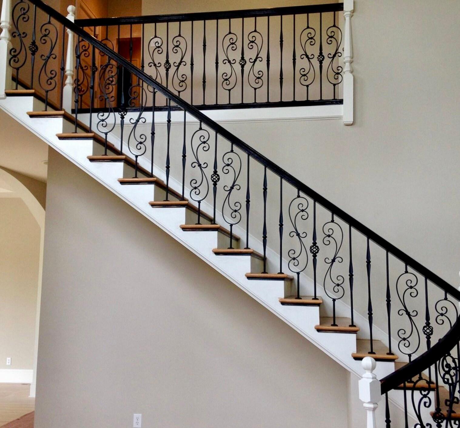 Wrought Iron Balusters Charlotte Nc Stair Railings | Installing Metal Balusters Wood Railing | Stair Treads | Deck Railing | Iron Baluster | Iron Stair Spindles | Stair Rail