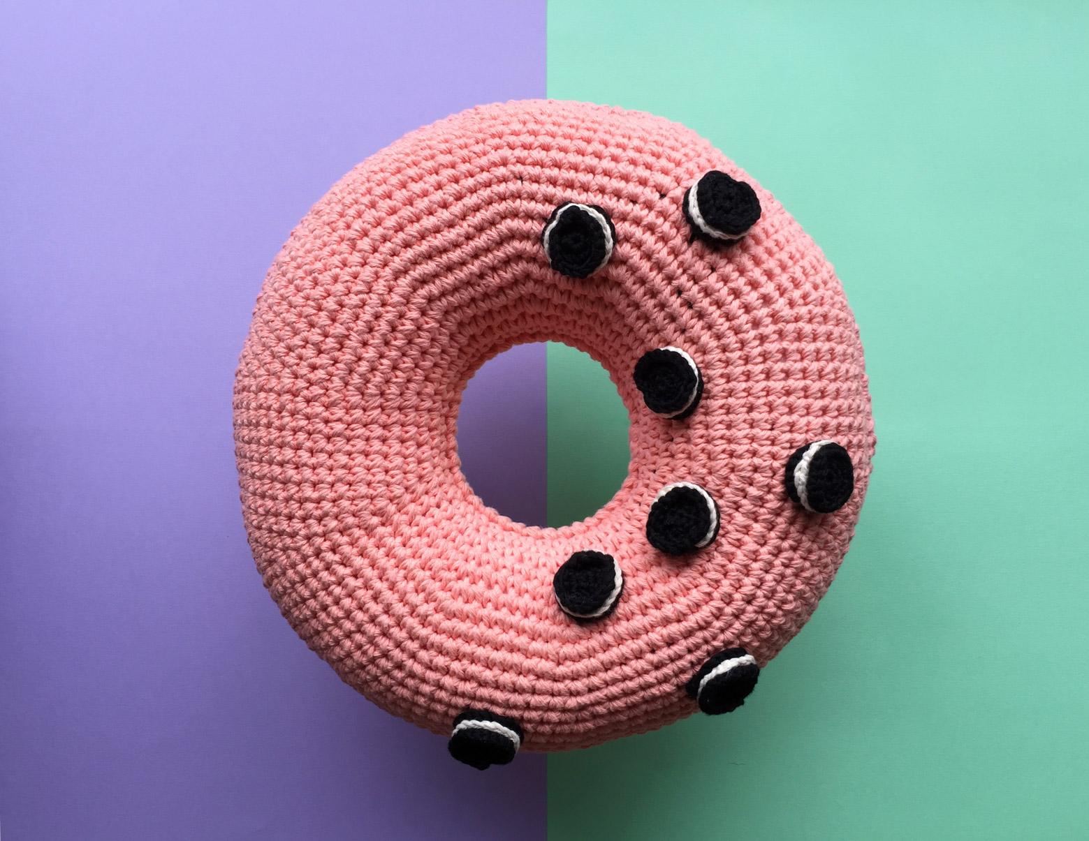 o nut crochet donut cushion flamingpot