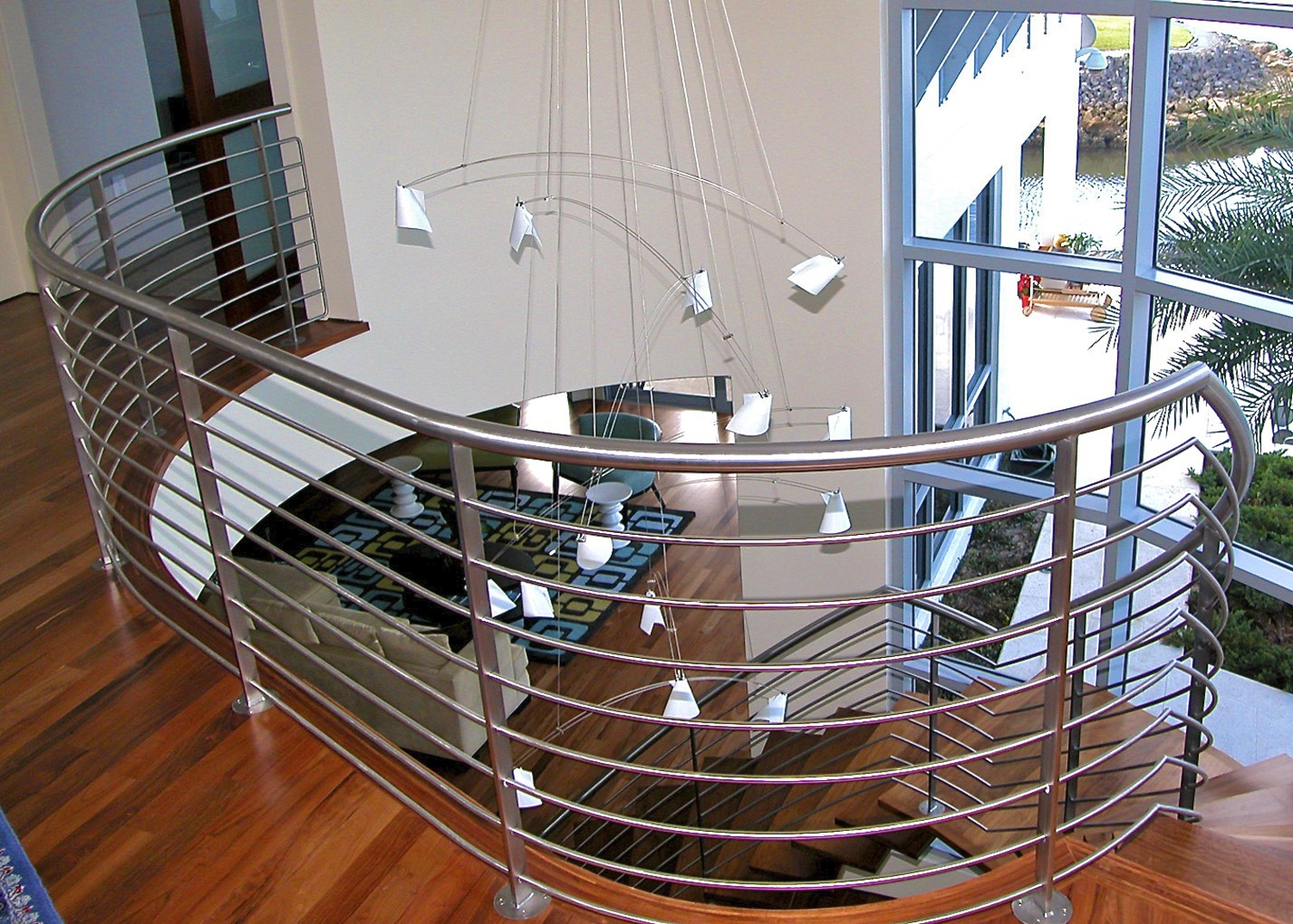 Custom Staircases And Railings — Sunmaster Of Naples | Metal Railing Designs Stairs | Front Porch Stair Railing | Banister | Residential | Caramel | Rustic