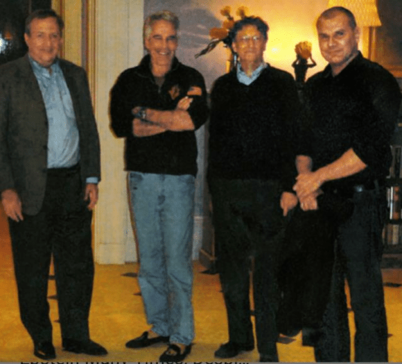 """Bill Gates (right center) next to eugenicist Jeffrey Epstein (left center) from  New York Times  article, """"Bill Gates met with Jeffrey Epstein many times, despite his past."""" (Oct. 12, 2019). See also """"Jeffrey Epstein Hoped to Seed Human Race With His DNA."""" (NYTimes, July 31, 2019) and """"Private jets, parties and eugenics: Jeffrey Epstein's bizarre world of scientists,"""" ( The Guardian , August 8, 2019)."""