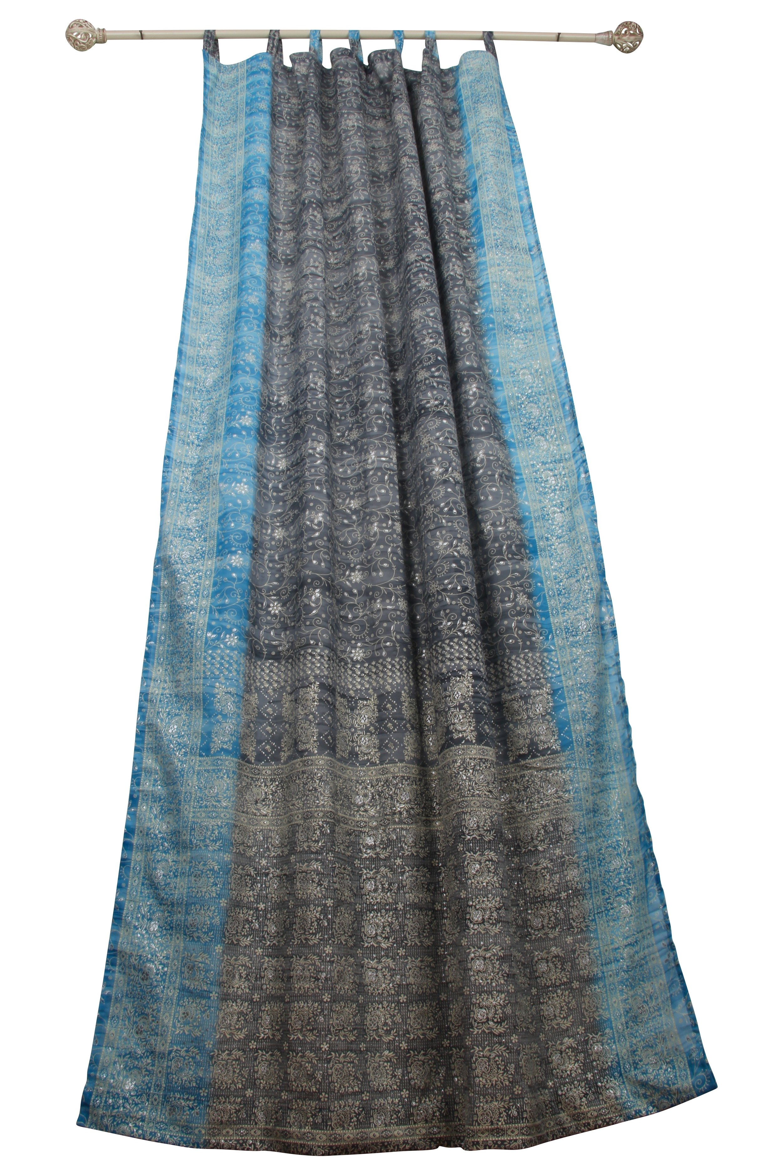 sari window curtain gray turquoise colors by padmini