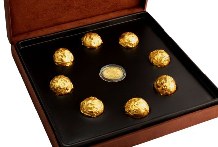 Image result for Gold chocolate box with antique Swiss gold coin by DeLafée of Switzerland
