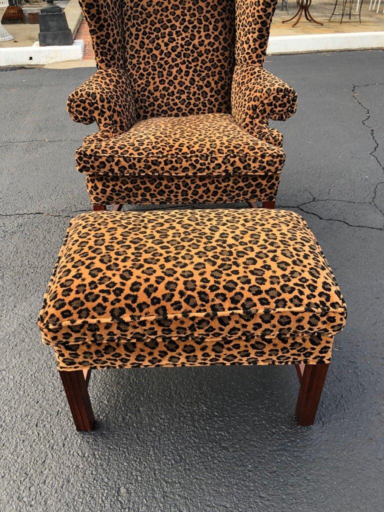 animal print wingback chair and ottoman fleur de lis