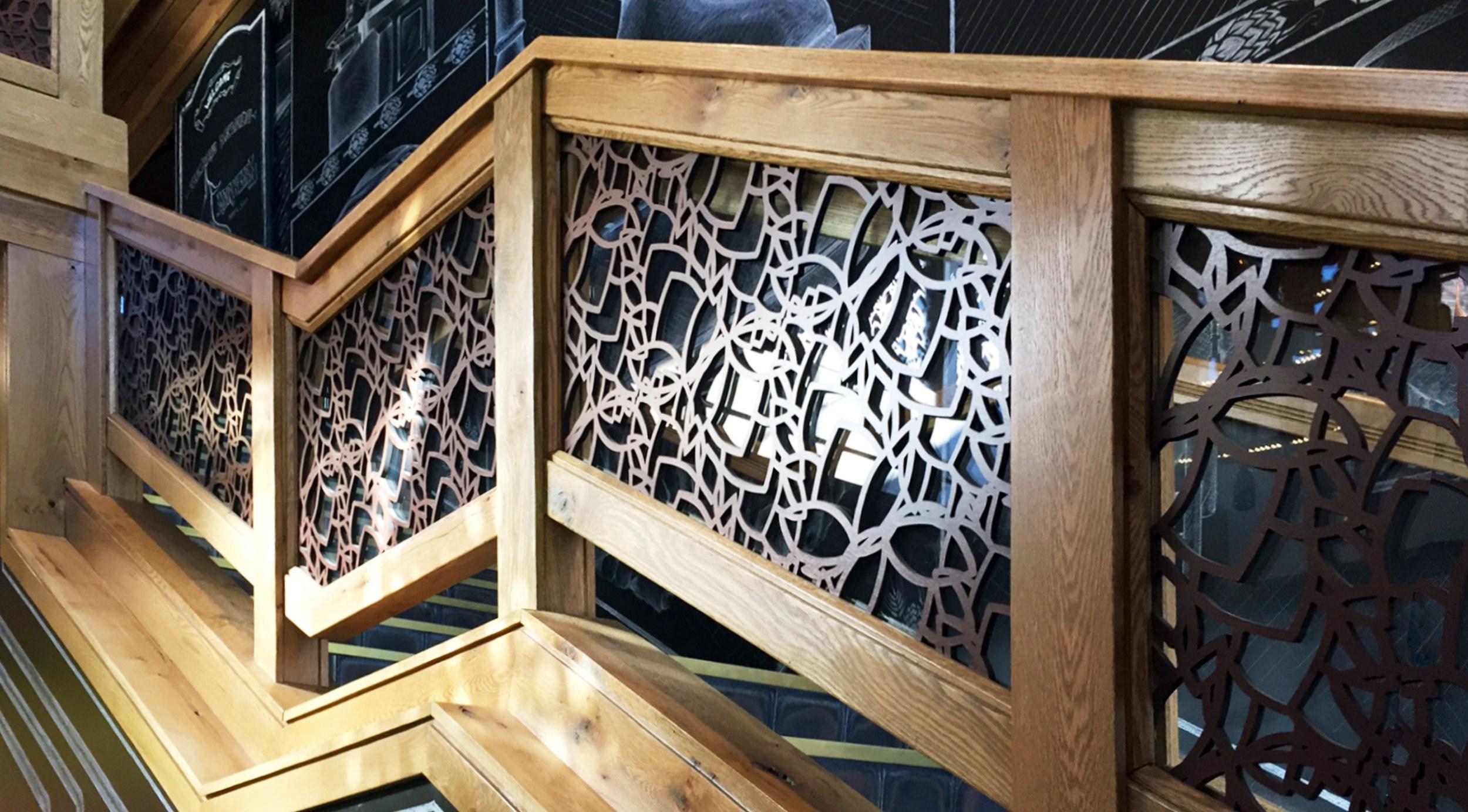 Laser Cut Stairways Deck Railings Custom Sized — Lightwave Laser   Custom Wood Stair Railing   Natural Wood   Barn Beam   Metal Spindle   Attic Stair   Rail