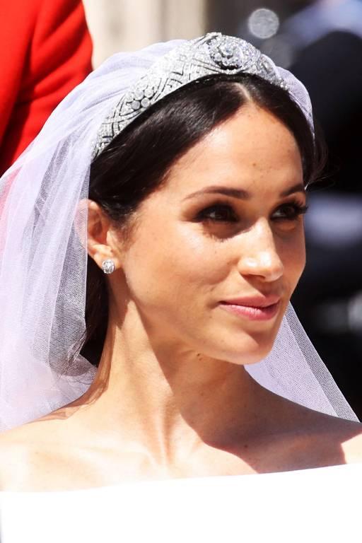 """Zu ihrer Hochzeit trug Herzogin Meghan die """" Queen Mary's Diamond Bandeau Tiara"""".  Doch insgeheim träumte sie von einem anderen Schmuckstück.  ©imago/PA Images"""